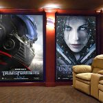 Movie posters, family photos or other graphics can be printed from high resolution photos to create any look for your home theater.