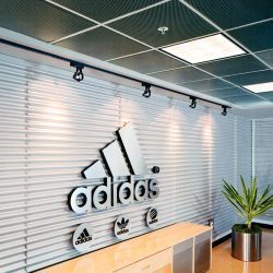 Adidas Village - Sonex® Squareline ceiling tiles by Pinta Acoustic, Inc. in standard grid system.