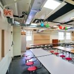Bellevue Elementary reduced sound levels in their cafeteria using AlphaSorb® Wall Panels and PolyPhon™ Panels mounted to ceiling.