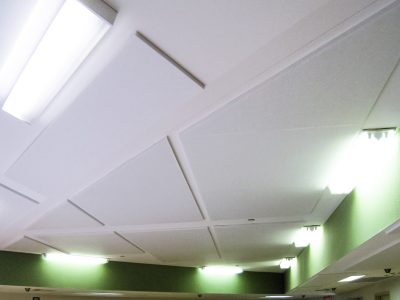 Cumberland Children's Hospital - Bright white PolyPhon™ Panels mounted to Children's Hospital ceiling for sound control.