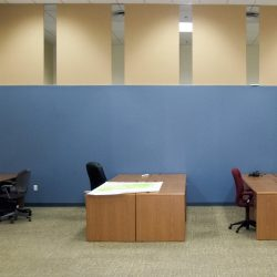 Goodwill Industries of Central Virginia installed acoustical panels on top of a partition wall to improve the acoustics in their offices.