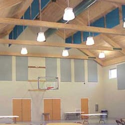 Integrity Christian School with acoustical baffles and wall panels.