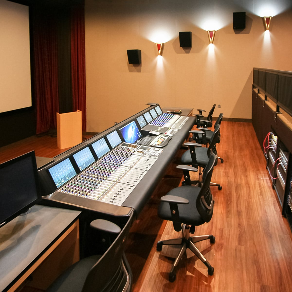 Lovely ... Liberty University Mixing Room Using Stretch Wall System For Side Wall  Acoustics And Speaker Covers Under ...