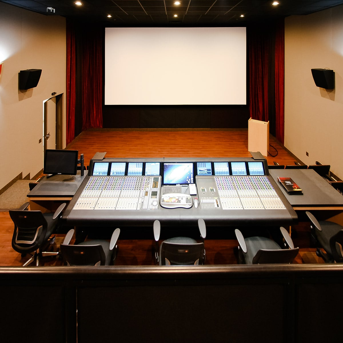 ... Liberty University Mixing Room Using Stretch Wall System For Side Wall  Acoustics And Speaker Covers Under ...