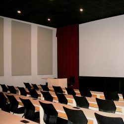 Liberty University Screening Room using two inch thick AlphaSorb® wall panels and speaker fabric to cover the speakers.