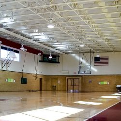 Moody Middle School's Gymasium is using AlphaEnviro® Baffles in ceiling to reduce reverberation in the room.