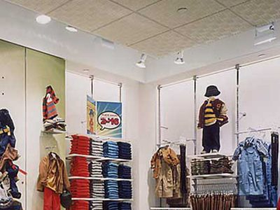 Children's Place Retail store using Sonex® Harmoni drop in ceiling tiles by Pinta Acoustic, Inc.