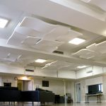 Christ Church of Arlington - Array of Sonex® WhisperWave Clouds in ceiling to reduce sound reverberation.