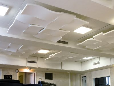 Christ Church of Arlington - Array of Sonex® Whisperwave® Clouds in ceiling to reduce sound reverberation.