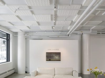 Circa Gallery installed acoustical foam on the ceiling to reduce the echo in their space.
