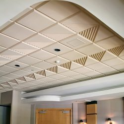 The Fountains Country Club – Sonex® Contour ceiling tiles by Pinta Acoustic, Inc. used in standard grid system to reduce noise levels in dining/meeting room.