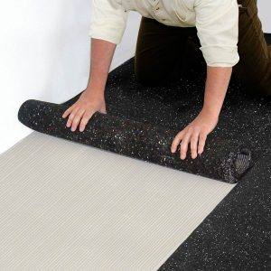 Iso-Step® Floor Underlayment - Roll out and lay the Iso-Step into the adhesive bond.
