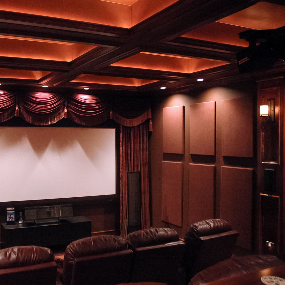 home theater acoustic wall panels. prevnext. jeff autor\u0027s home theater using absorptive soundsued acoustic wall panels. panels
