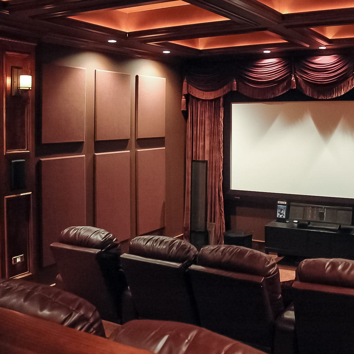 Jeff Autoru0027s Home Theater Using Absorptive SoundSued Acoustic Wall Panels.