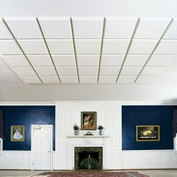 Shown here at The Manor House, the Sonex® Contour Acoustic Panels by Pinta Acoustic, Inc. are direct mounted to the ceiling to improve the room acoustics.