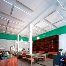 Pasture Restaurant - AlphaSorb® Ceiling Clouds in their dining room area to reduce ambient noise levels in restaurant.