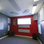 Sound Check Studios - Acoustic foam panels and bass traps in the practice room.