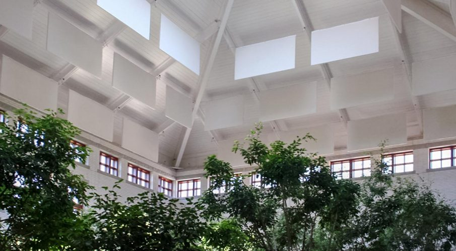 Virginia Museum of Contemporary Art - Museum atrium using AlphaSorb hanging baffles in ceiling to reduce ambient noise and reverb.