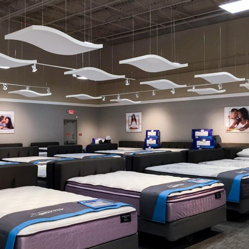 These Whisperwave Clouds are being used to absorb reverberation in an open retail space.