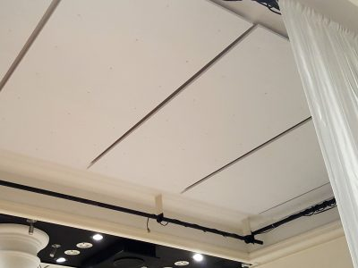 Helen Mills Event Space and Theater installed PolyPhon™ direct to the surface of the ceiling.