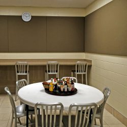 PT Trail Golf Course Break Room - The band of acoustical panels installed in this break room provide a calm and quite place for employees to relax and enjoy their meals.