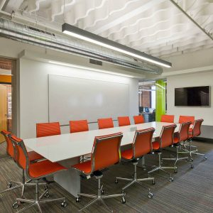 WhisperWave® Ribbon Sound Baffles were installed in this conference room to improve the speech ineligibility as well as add an element of design.