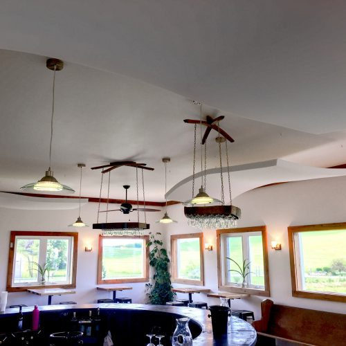 Rockbridge Vineyard Tasting Room - WhisperWave Ceiling Clouds were installed to reduce the reverbertaion and echo, improving the customer's experience.