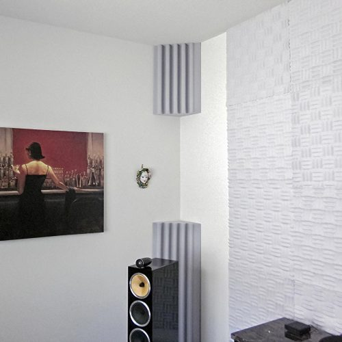 Eric K's Home Listening Room with AlphaCorner Foam Bass Traps and Sonex® Junior.