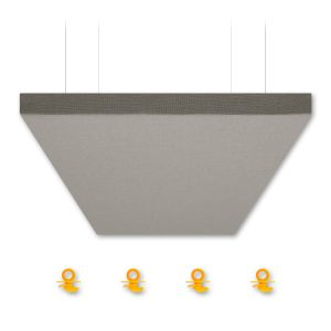 "AlphaSorb® QS Acoustic Ceiling Cloud - 2' x 4' x 2"" - Grey Mix"