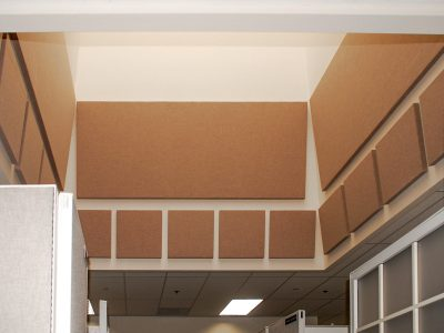 Siemens PLM Software lined the chutes to these skylights with acoustic panels to eliminate the disruptive sound that was reverberating back into the office space.