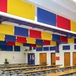 The AlphaEnviro® PVC baffles and panels provide a colorful and effective way to improve the room acoustics in this cafeteria at Mechanicsville Elementary School.