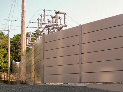 NSTAR Transformer Substation Sound Barrier Wall System blocks the sound and hides noisy equipment from the neighboring community.