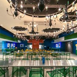 Savannah College of Art & Design utilized the custom nature of the AcoustiWall Fabric Stretch system with Whisper Fabric and our installation services to meet their high design standards as well as attain excellent acoustics in their student commons named The Hub.